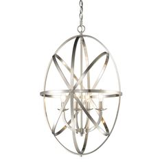 This elegant Aranya chandelier from Z-Lite features a stunning frame of orbiting ovular metal bands, surrounded an inner fixture fitted with luminous matte opal glass shades. Finished in bright brushed nickel, this fixture is sure to impress. Cool Lighting, Ceiling Lights, Ceiling Pendant Lights, Cool Floor Lamps, Chandeliers And Pendants, Home Lighting, Simple Lighting, Light, Chandelier