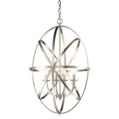 Avery Home Lighting Aranya Brushed Nickel 4-light Oval Chandelier (Aranya Brushed Nickel Chandelier), Gray