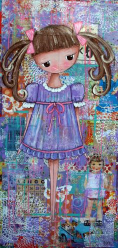 """""""Pigtails in Purples"""" 18x36"""