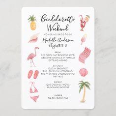 Watercolor Beach Bachelorette Weekend Itinerary Invitation Beach Bachelorette, Bachelorette Party Invitations, Zazzle Invitations, Bridal Shower Invitations, Birthday Party Invitations, Bachelor Wedding, Beach Watercolor, Watercolor Wedding, Birthday Weekend