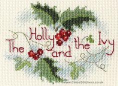 The Holly & The Ivy Christmas Greetings Card Cross Stitch Kit from Derwentwater Designs