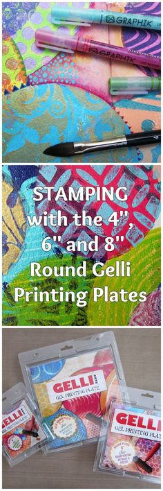 """Gelli™ Stamping: Layered Circles WOW! Gelli plates in three ROUND sizes!! Triple the fun for stamping circle prints! Watch this fast-paced video showing the 4"""", 6"""" and 8"""" round plates in action — on an art journal spread with layered, overlapping circle stamped images!"""