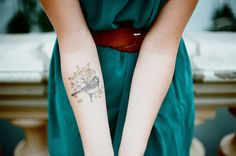 I rarely find tattoos as tasteful as this one. Inner Arm Tattoos, Inner Forearm Tattoo, Forearm Tattoos, Sparrow Tattoo, Cute Tattoos, Girl Tattoos, Tatoos, Female Tattoos, Sweet Tattoos