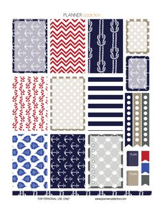 Free Weekly Printable Planner Stickers - Nautical - Large HP Page 1