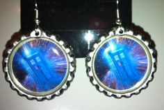 Dr. Who Tardis bottle cap earrings . $7.00, via Etsy.
