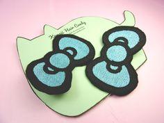 Sweet Lolita Hair Clips - Hello Kitty Hair Bows - Pastel Goth Clothing - Kawaii Hair Bows - Anime Hair Bow - Anime Hair Clip - Kids Hair Bow by KawaiiHairCandy on Etsy