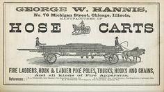 Vintage Ephemera: Advertisement, horse-drawn fire truck,1871