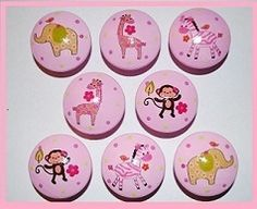Jungle Jill Knobs Matches Girls Bedding Animals Pink Zebra Giraffe Elephant | eBay