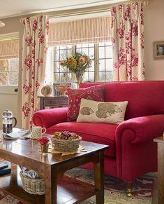 Bramble Cranberry Curtain Fabric #lauraashleyhome #livingroomideas