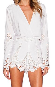 Love this elegant long sleeved romper - would be such a unique thing to wear for a rehearsal dinner!