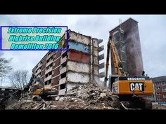 Hochhaus Abbruch Duisburg Rheinhausen Stormstrasse Caterpillar Excavator Demolition - YouTube
