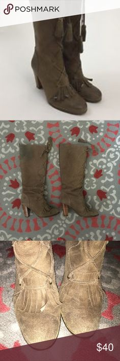 Plenty by Tracey Reese boots These have been loved, super comfy, heels are still in good condition, some discoloring on both due to dark jean wash rubbing off which is visible in the picture ,  color is a taupe shade, rugged look to fabric, like a  nubuck  suede but more texture to it. Original box included. Plenty by Tracy Reese Shoes Heeled Boots