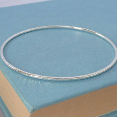 Handmade Textured Plain Silver Bangle