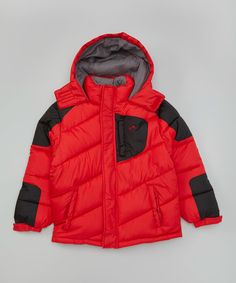 Look what I found on #zulily! Red & Black Puffer Jacket - Toddler & Boys #zulilyfinds