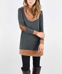 Look what I found on #zulily! Charcoal & Mocha Drape Neck Tunic #zulilyfinds