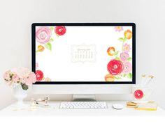 Floral watercolor computer wallpaper with January 2015 Calendar - www.mospensstudio.com