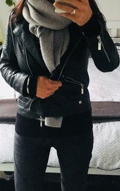 Black on black, winter casual, black leather jacket, black jumper, oversized grey scarf, black pants #muttonandlamb