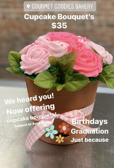 Custom Cupcakes, Cupcake Toppers, Planter Pots, Bakery, Goodies, Birthdays, Bouquet, Sweet Like Candy, Treats