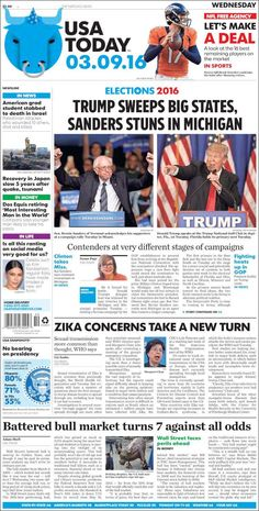 "#20160309 #USA #USAnews #USAtoday #USAtodayNEWSpaper Wednesday MAR 09 2016 http://www.usatoday.com/ + http://en.kiosko.net/us/2016-03-09/np/usa_today.html + https://www.facebook.com/usatoday/?fref=ts + #5ThingsYouNeedToKnow ""5 Things You Need To Know"" WEDNESDAY http://www.usatoday.com/story/news/2016/03/09/5-things-you-need-know-wednesday/81433292/"