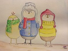 """""""Cozy winter buddies,"""" watercolor - Crystal Phillips  Birds, children's  art, whimsical"""