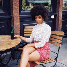 Marian Mereba @ marianmereba wrote: almost exactly year ago, shooting with the goddess @ mishameghna.  natural  hair. afro hair. big hair. curly afro. fro curls.