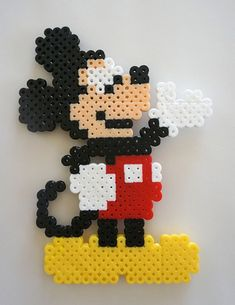 Disney Mickey Mouse standing perler beads by Shannon Landon Melty Bead Patterns, Pearler Bead Patterns, Perler Patterns, Beading Patterns, Perler Beads, Perler Bead Art, Fuse Beads, Perler Bead Disney, 8bit Art