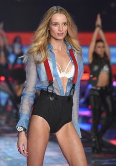 Model Maud Welzen from The Netherlands walks the runway during the 2015 Victoria's Secret Fashion Show at Lexington Avenue Armory on November 10, 2015 in New York City.