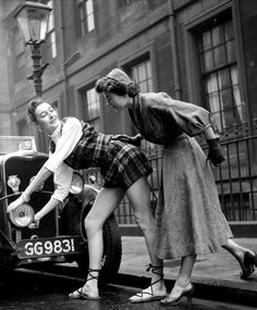 "maudelynn: ""The First Hot Pants? Feb 1953 ~ Two students model casual outfits in the annual fashion at the Glasgow Art School during Rag Week for Charity "" Fashion Tips For Women, Fashion Advice, Fashion Brands, Women's Fashion, Fashion Ideas, Street Fashion, Ladies Fashion, Fashion Clothes, Fashion Design"