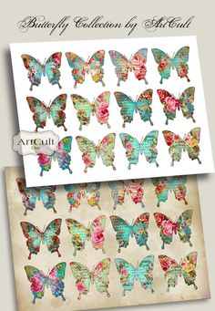 BUTTERFLY COLLECTION No2 - Two Digital Sheets Printable Images to print on fabric or paper, Iron On Transfer for totes t-shirts pillows