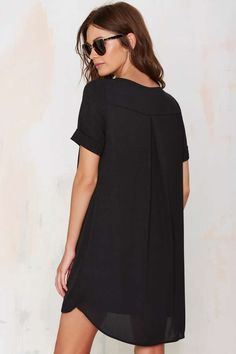 Power Shift Chiffon Dress - Black -