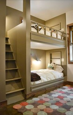 Love this idea for bunkbeds.seems more comfortable and safer. Plus looks better than standard bunkbeds House Design, New Homes, Bunk Beds, House Interior, House, Alcove Bed, Bunk Beds Built In, Home Bedroom, Home Decor