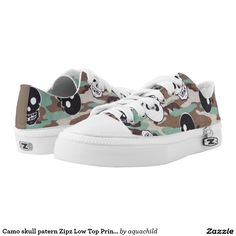 Camo skull patern Zipz Low Top Printed Shoes
