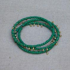 Dancing Beaded Bangle - Green