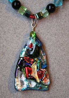Dichroic Fused Glass Necklace with Triangular Pendant - Black, Blue, Red, Opal, Purple, Green, Gold,