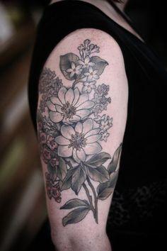 kirsten makes tattoos Flower Bouquet Tattoo, Flower Tattoo Foot, Foot Tattoos, Flower Tattoos, Sleeve Tattoos, Tatoos, Flower Tattoo Meanings, Flower Tattoo Designs, Laurel Tattoo