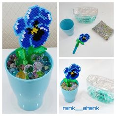 Pansy flowerpot hama mini beads by renk__ahenk