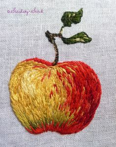 embroidered rosy apple