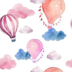 Watercolor seamless pattern with air balloon and clouds. Hand drawn vintage coll… Watercolor seamless pattern with air balloon and clouds. Hand drawn vintage collage illustration with hot air balloon, flag garlands, abstract pastel clouds. Balloon Clouds, Hot Air Balloon, Balloons, Easy Watercolor, Watercolor Pattern, Watercolor Paintings, Watercolours, Vintage Collage, Pastel Clouds