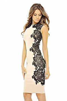 chic coctail φόρεμα με πλαϊνά δαντέλα