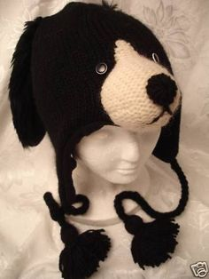 DOG-HAT-knit-ski-cap-ADULT-mens-womens-for-humans-BLACK-beanie-NEW-toque-costume