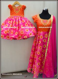# Mom and Me designs with hand embroidery  by Angalakruthi-Designer boutique Bangalore   # Mom and daughter designs with hand embroidery  #Floral designs for Mom and Me dresses  watsapp:8884347333 Custom designer boutique with online order placement service and international shipment service