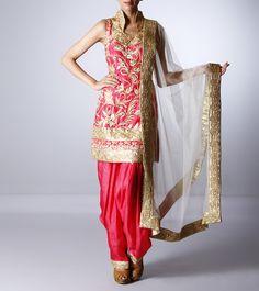 Pink Silk Salwar Suit with Zari Work