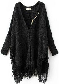 Black Batwing Long Sleeve V-neck Tassel Hem Cardigan