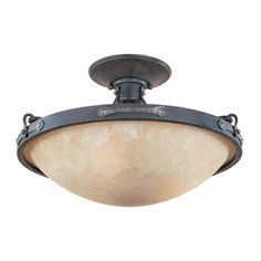 Semi-Flushmount Light with Beige / Cream Glass in Weathered Saddle Finish | 97311-WSD | Destination Lighting