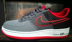 Nike Air Force 1 Low | Black, Grey & Red