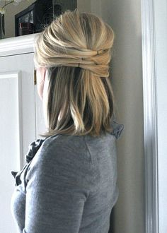 STRAIGHT half updo! Super classy & elegant...why does everyone need curls all the dang time!? ;-)