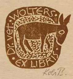 Ex Libris Dr Vet. Wolters by Kobi Baumgartner, Art-exlibris.net
