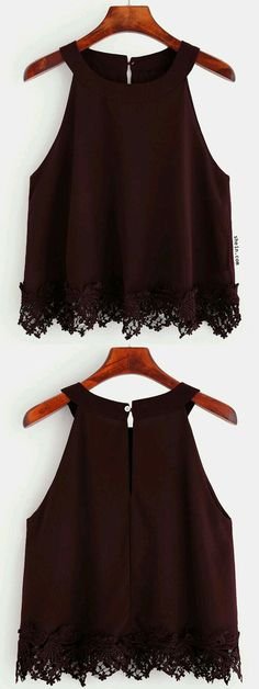 Burgundy Crochet Trim Chiffon Halter Neck Top, this is só girly and so cute i realy like it Mode Outfits, Casual Outfits, Fashion Outfits, Womens Fashion, Chiffon, Outfit Trends, Crochet Trim, Cute Tops, Halter Neck