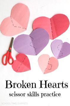 Valentine's Day Scissor Skills Practice -- love this simple fine motor skills activity!