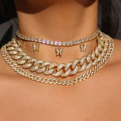 Girls Jewelry, Cute Jewelry, Jewelry Accessories, Women Jewelry, Ice Necklace, Tennis Necklace, Real Gold Chains, Grunge Jewelry, Gold Chain Choker
